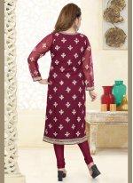 Embroidered Net Churidar Designer Suit