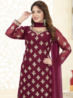 Embroidered Net Churidar Designer Suit
