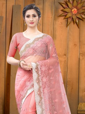 Embroidered Net Contemporary Saree