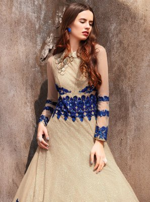 Embroidered Net Cream Designer Salwar Kameez