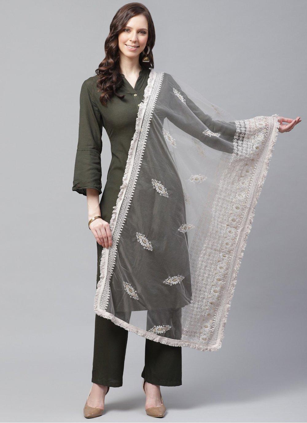 Embroidered Net Designer Dupatta in Off White