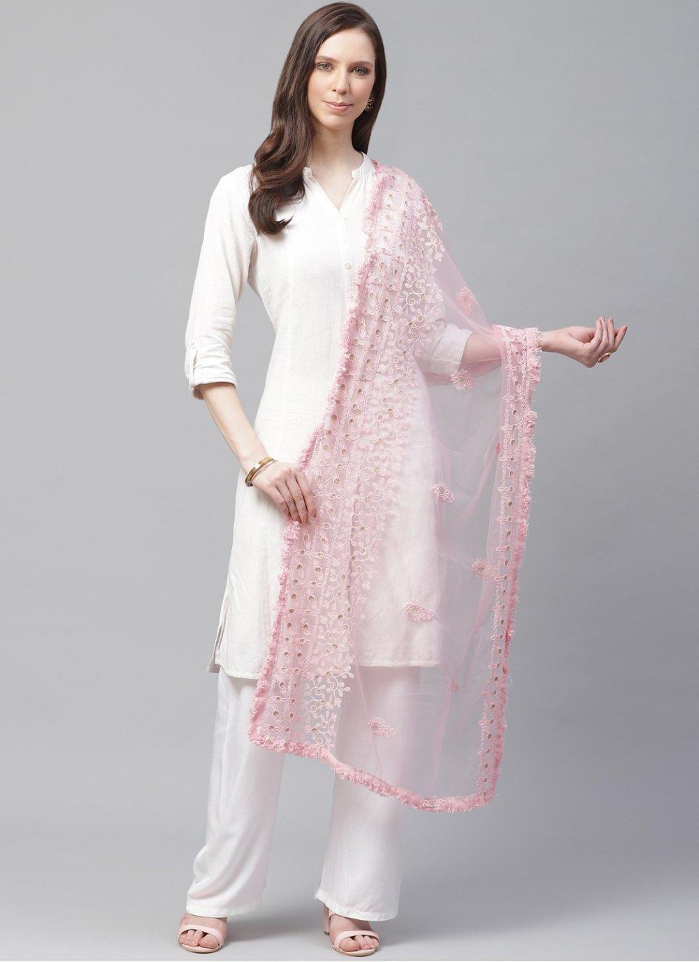 Embroidered Net Designer Dupatta in Pink