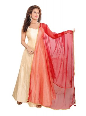 Embroidered Net Designer Dupatta in Red