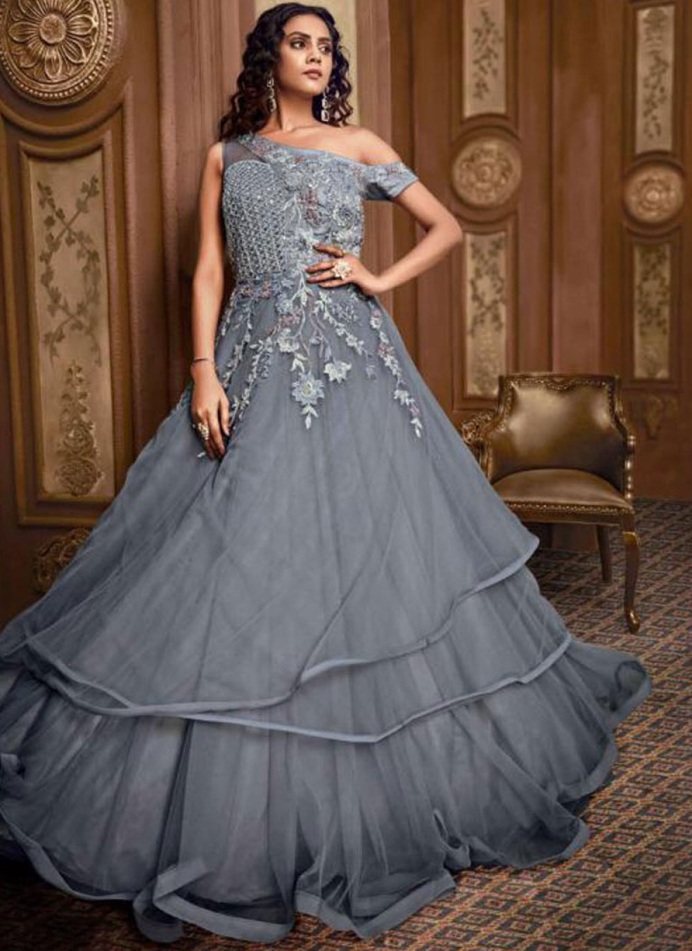 Embroidered Net Designer Gown in Grey