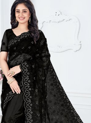 Embroidered Net Designer Saree in Black