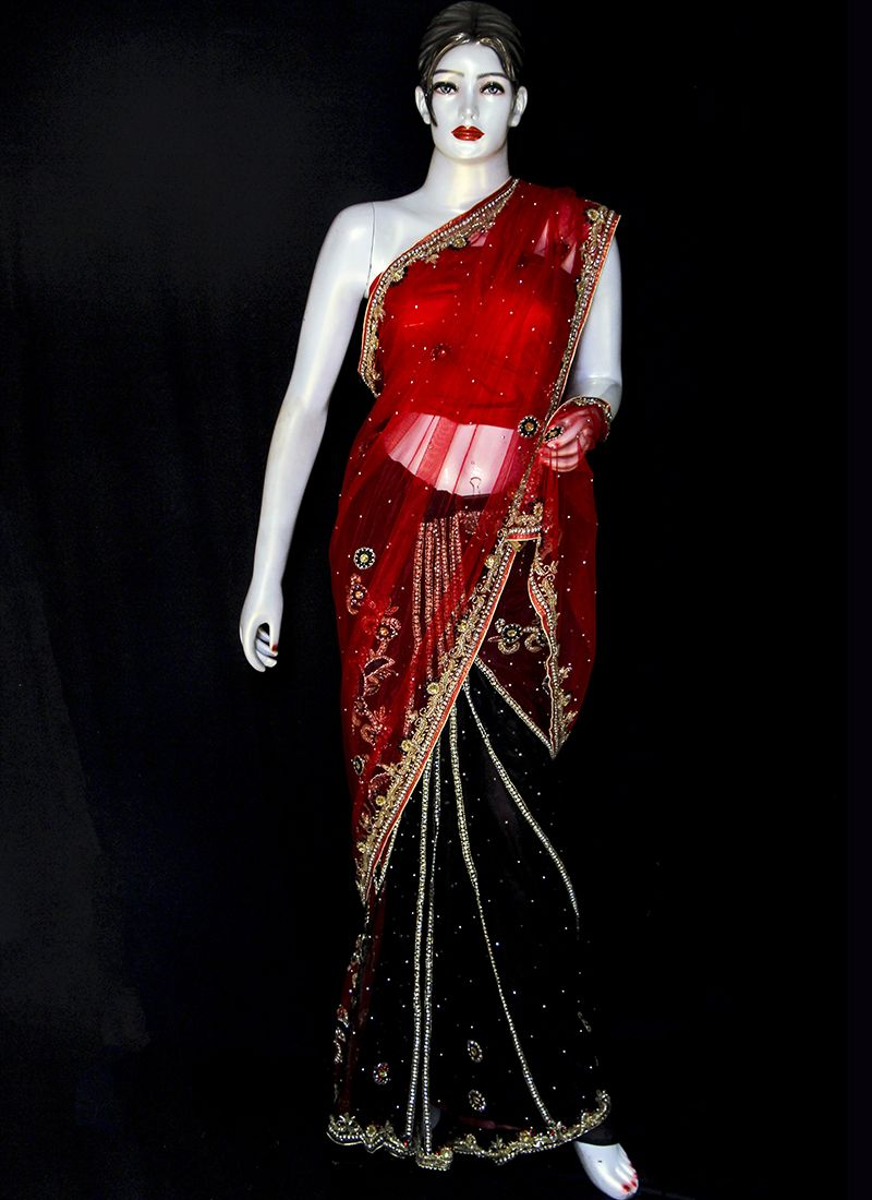 Embroidered Net Designer Saree in Black and Red