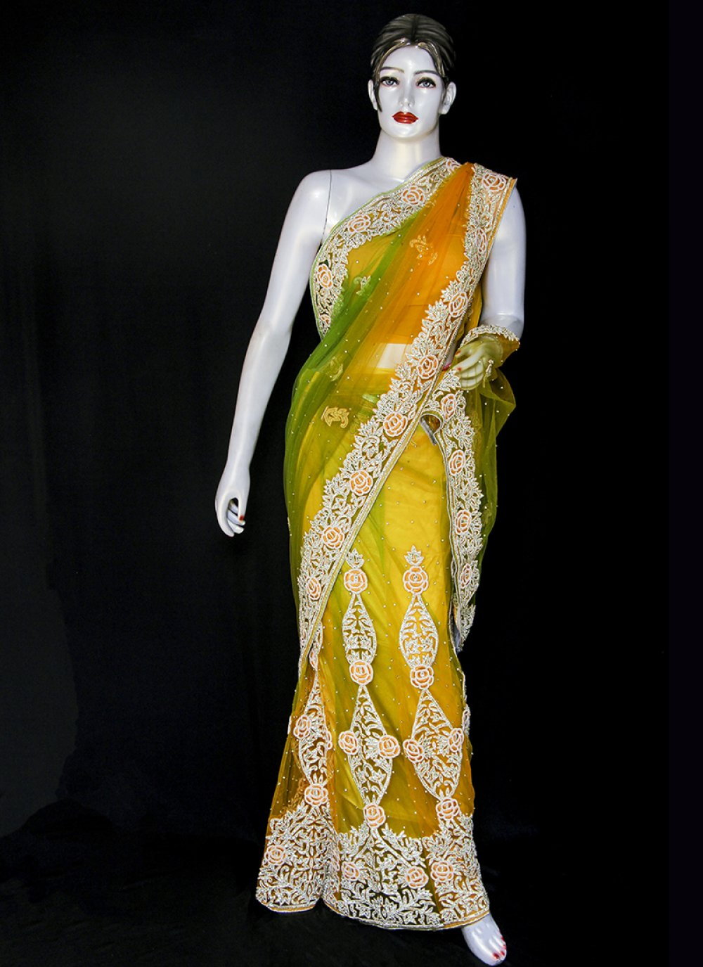 Embroidered Net Designer Saree in Green and Yellow