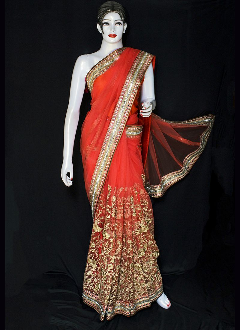 Embroidered Net Designer Saree in Red