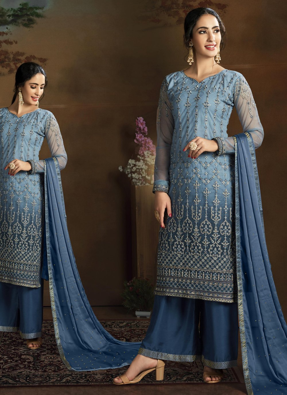 Embroidered Net Designer Straight Suit in Blue