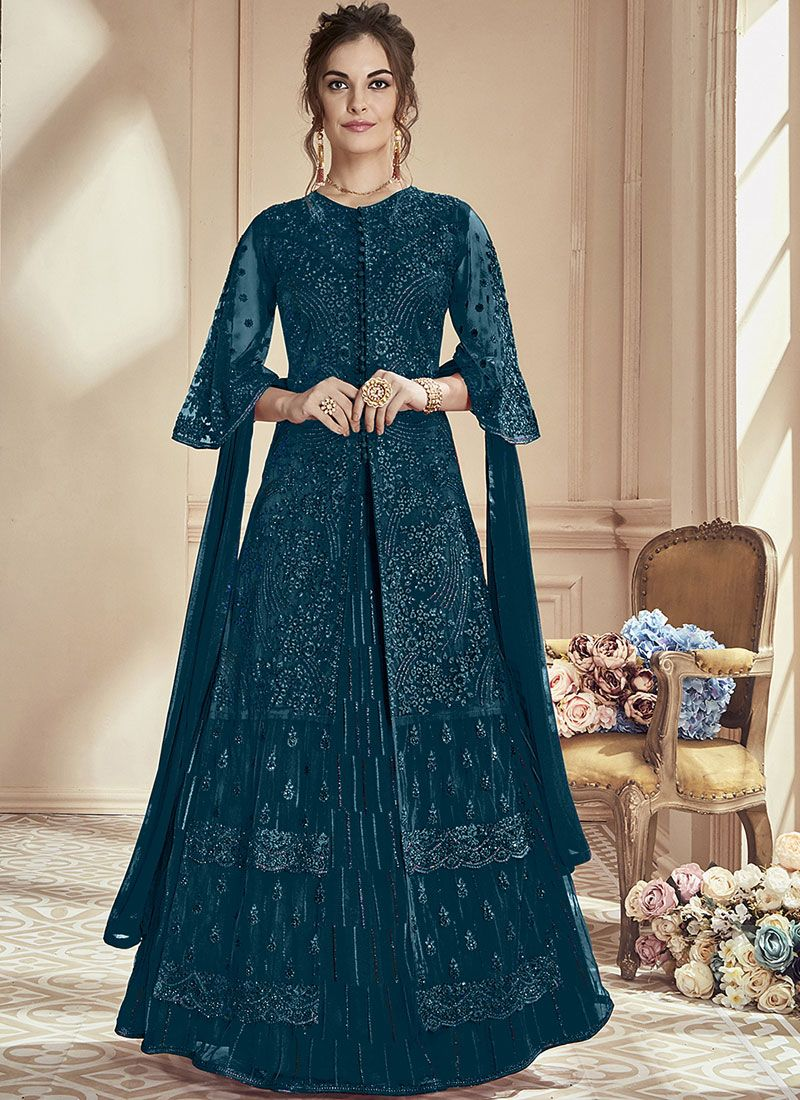 Embroidered Net Green Anarkali Suit