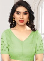 Embroidered Net Green Designer Saree