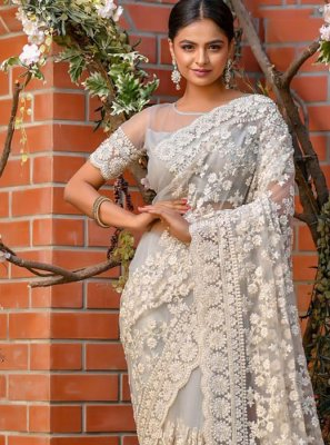 Embroidered Net Grey Classic Designer Saree