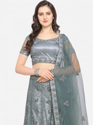 Embroidered Net Grey Lehenga Choli