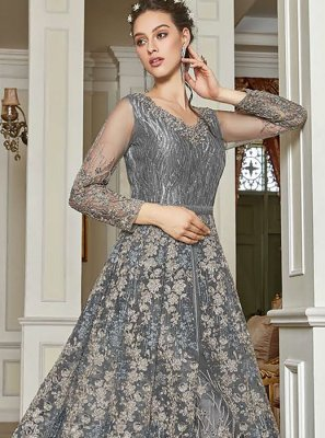 Embroidered Net Grey Pant Style Suit