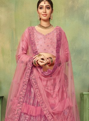 Embroidered Net Lehenga Choli in Pink