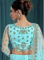 Embroidered Net Lehenga Choli in Turquoise