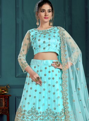 Embroidered Net Lehenga Choli in Turquoise