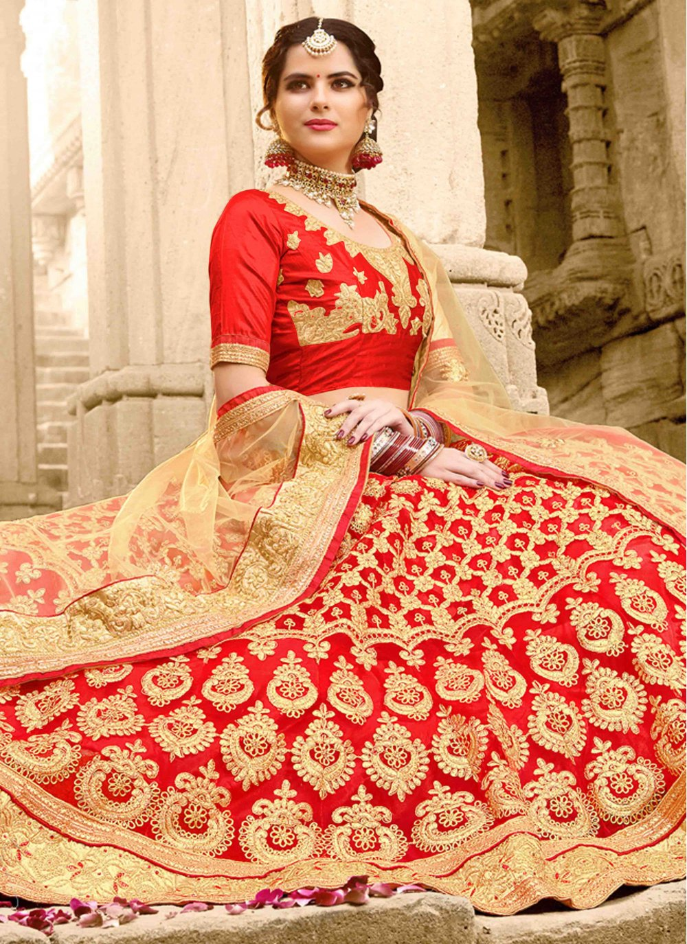 Embroidered Net Maroon Lehenga Choli