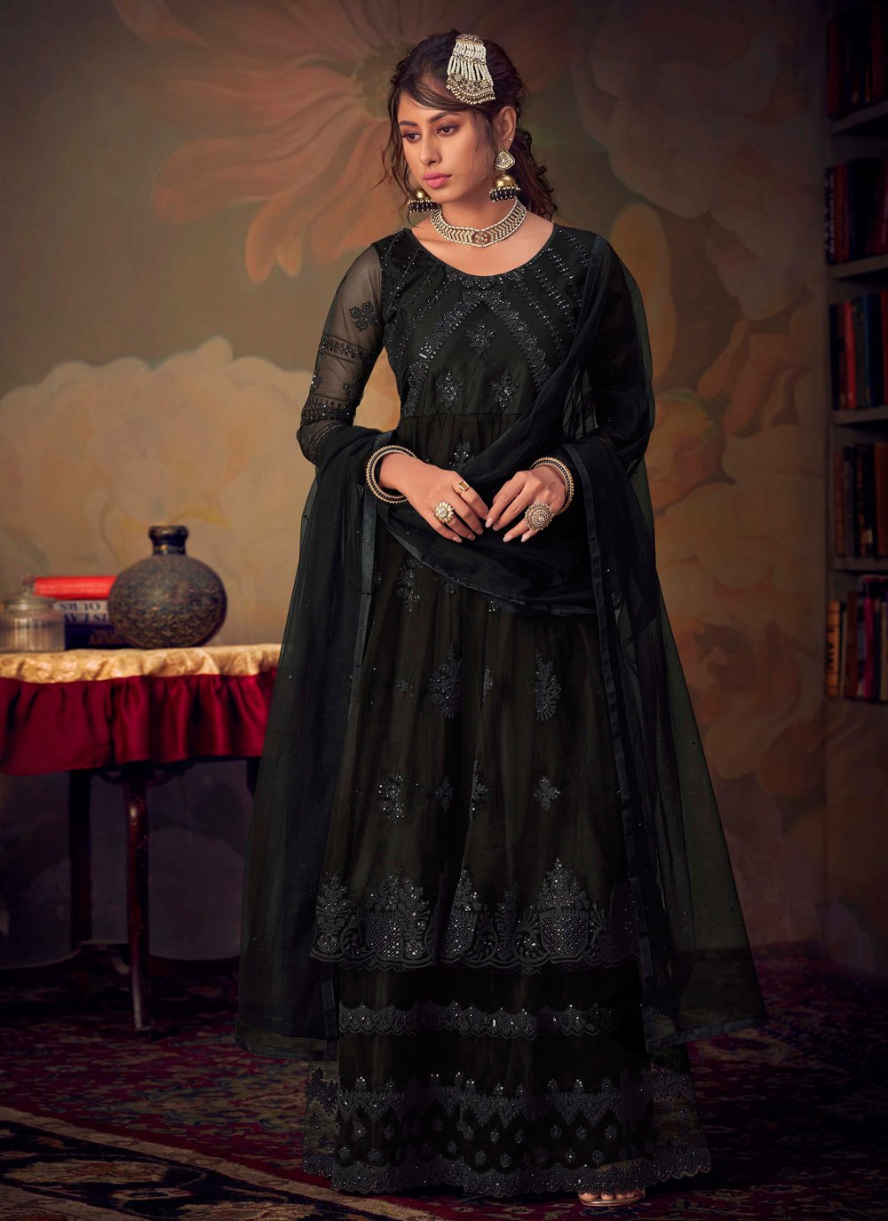 Embroidered Net Palazzo Salwar Kameez in Black
