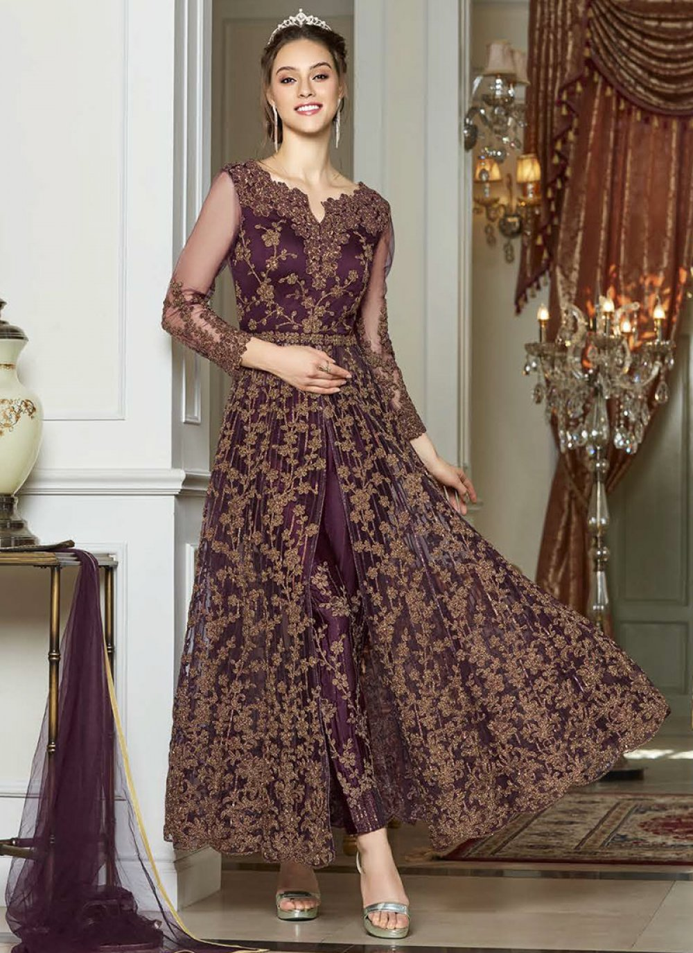 Embroidered Net Pant Style Suit in Purple
