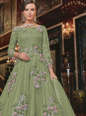 Embroidered Net Sea Green Anarkali Salwar Suit