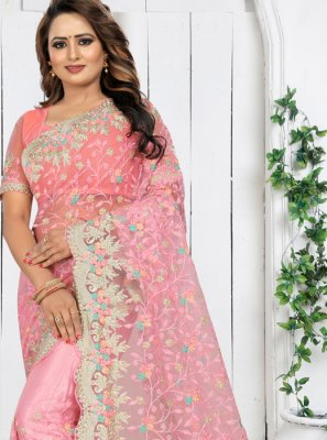 Embroidered Net Traditional Saree