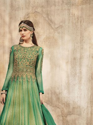 Embroidered Net Trendy Anarkali Salwar Kameez in Green