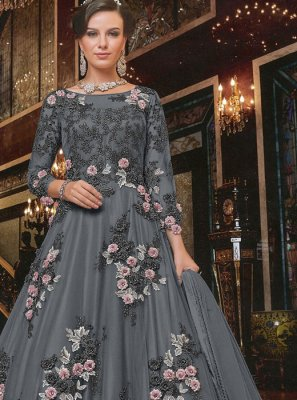 Embroidered Net Trendy Anarkali Salwar Suit