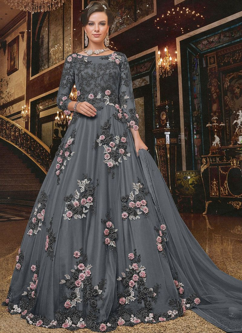 Embroidered Net Trendy Anarkali Salwar Suit