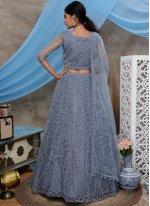 Embroidered Net Trendy Lehenga Choli in Grey