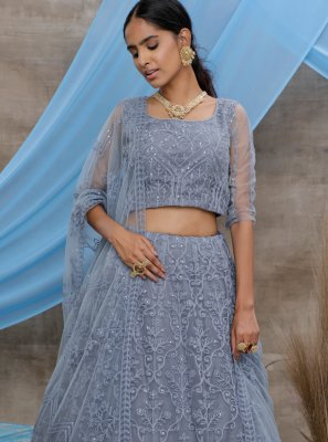 Embroidered Net Trendy Lehenga Choli in Grey