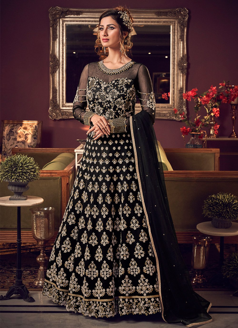 Embroidered Net Trendy Long Length Anarkali Suit in Black
