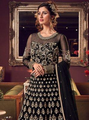 Embroidered Net Trendy Long Length Anarkali Suit in Black
