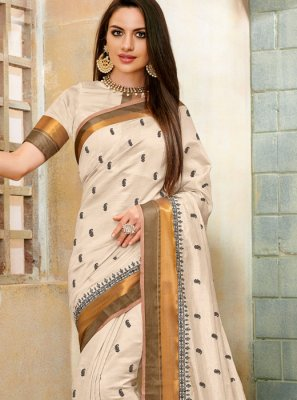 Embroidered Off White Classic Saree