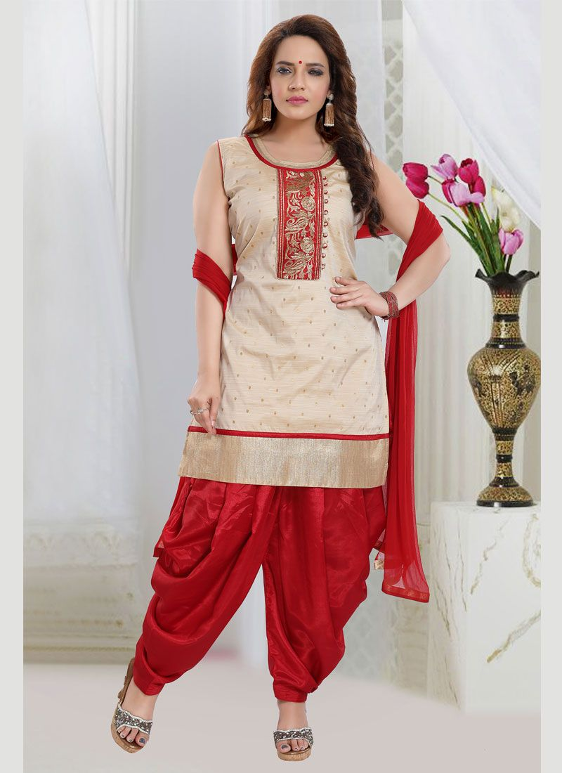 Embroidered Off White Readymade Salwar Suit