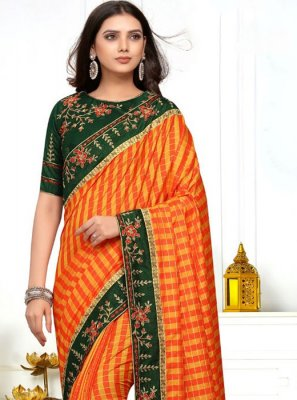 Embroidered Orange and Yellow Classic Saree