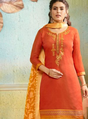 Embroidered Orange Chanderi Salwar Suit