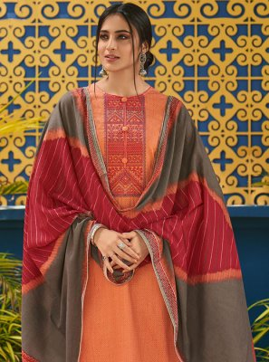 Embroidered Orange Cotton Pakistani Salwar Kameez
