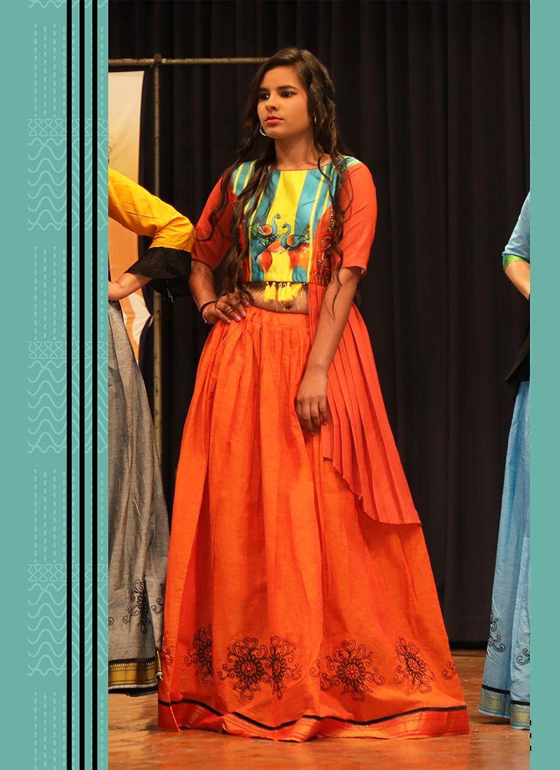 Embroidered Orange Khadi A Line Lehenga Choli