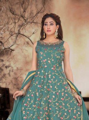 Embroidered Organza Green Anarkali Salwar Kameez