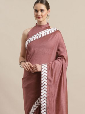 Embroidered Organza Trendy Saree in Brown