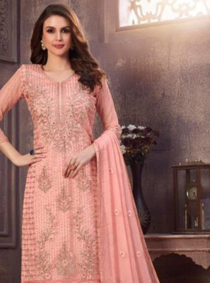 Embroidered Organza Trendy Suit in Pink