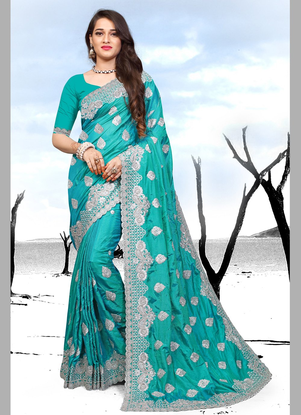 Embroidered Party Designer Saree