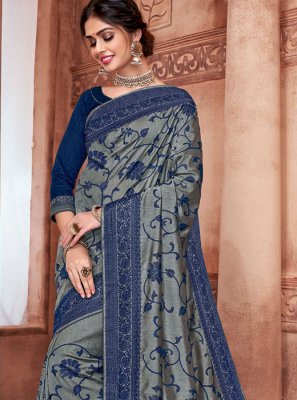 Embroidered Party Silk Saree