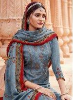 Embroidered Pashmina Blue Salwar Suit