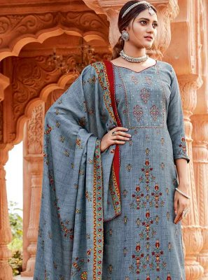 Embroidered Pashmina Blue Salwar Suit