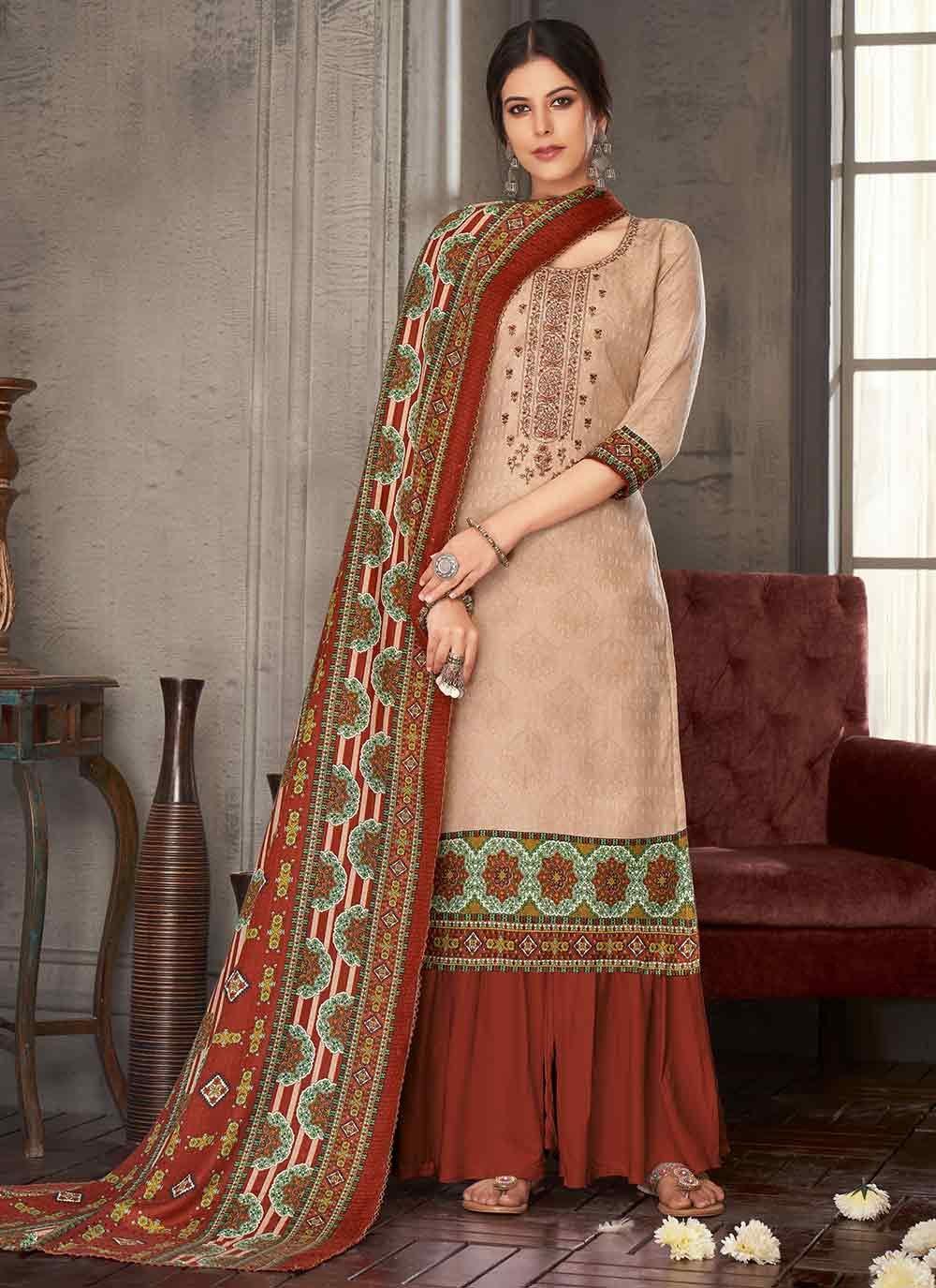 Embroidered Pashmina Multi Colour Palazzo Suit