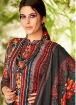 Embroidered Pashmina Trendy Palazzo Suit in Black
