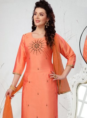 Embroidered Peach Art Silk Readymade Suit
