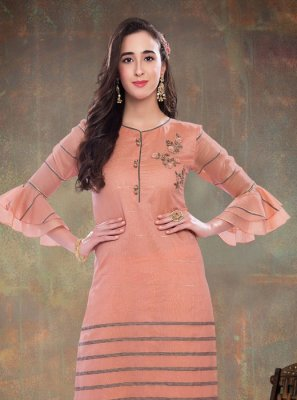 Embroidered Peach Chanderi Designer Kurti